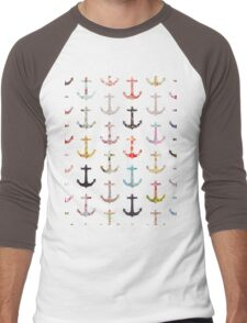 Vintage retro sailor girly floral nautical anchors Men's Baseball ¾ T-Shirt