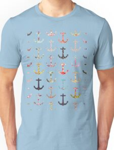 Vintage retro sailor girly floral nautical anchors Unisex T-Shirt