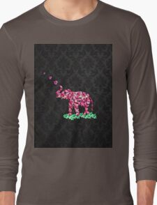 Retro Flower Elephant Pink Sakura Black Damask Long Sleeve T-Shirt