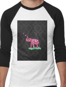 Retro Flower Elephant Pink Sakura Black Damask Men's Baseball ¾ T-Shirt
