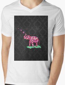 Retro Flower Elephant Pink Sakura Black Damask Mens V-Neck T-Shirt