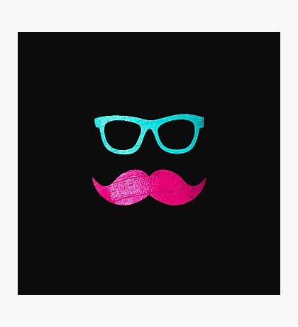 Funny Pink mustache teal hipster glasses Black  Photographic Print