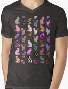Girly Whimsical Cats aztec floral stripes pattern Mens V-Neck T-Shirt