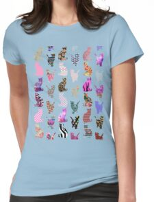 Girly Whimsical Cats aztec floral stripes pattern Womens Fitted T-Shirt
