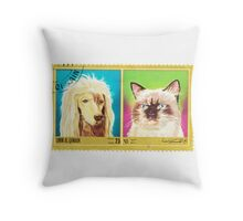 Umm Al Quwain Cat and Dog Print Throw Pillow