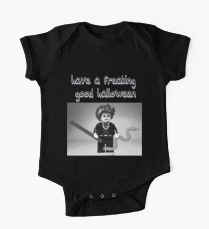 """Have a Freaking Good Halloween"" Custom Evil Magician Greeting Card One Piece - Short Sleeve"