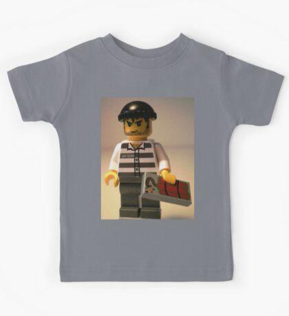 Convict Prisoner City Minifigure with Dynamite Tile Kids Tee
