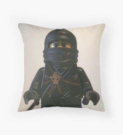 Black Ninja Custom Minifigure Throw Pillow