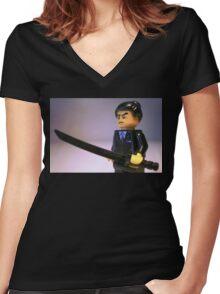 Japanese Yakuza Gokudō Gangster Custom Minifigure Women's Fitted V-Neck T-Shirt