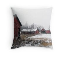 Old Farm Sheds in Snow Throw Pillow