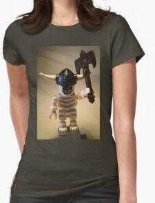 White Skeleton Viking and Custom Axe, Custom Minifigure Womens Fitted T-Shirt