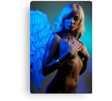 Young woman with angel wings Canvas Print
