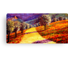 Road Through the Olive Grove Hill Canvas Print