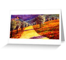 Road Through the Olive Grove Hill Greeting Card