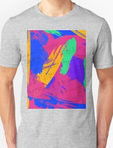 Wild Paint Brush Colors and Music Sheets Unisex T-Shirt