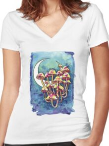 Mushroom Patch Women's Fitted V-Neck T-Shirt