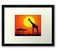Giraffe & Sunset in African Safari   Framed Print