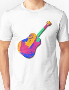 Guitar Shape Wild Paint Brush Colors  T-Shirt