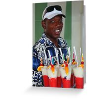 Warm smile and colourful drinks Greeting Card