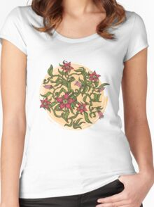 Summer illustration with flowers Women's Fitted Scoop T-Shirt