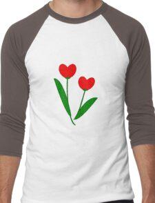 Tulip Hearts Men's Baseball ¾ T-Shirt