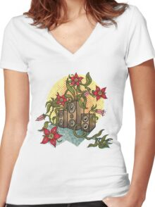 Summer illustration with music speakers and flowers.  Women's Fitted V-Neck T-Shirt