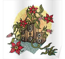 Summer illustration with music speakers and flowers.  Poster