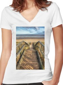 Mablethorpe Beach Women's Fitted V-Neck T-Shirt