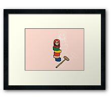 Japanese Daruma Otoshi (Pink Background) Framed Print