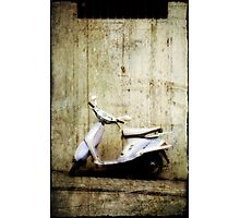 Leaning Moped Photographic Print