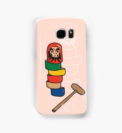 Japanese Daruma Otoshi (Pink Background) Samsung Galaxy Case/Skin
