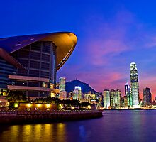 Sunset over HK Convention Center & IFC by HKart