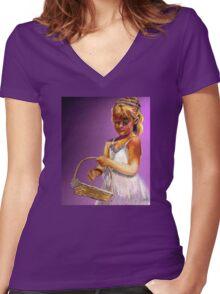 The Flower Girl Women's Fitted V-Neck T-Shirt