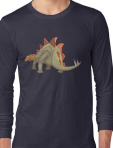 Stegosaurus Dinosaur Illustration Long Sleeve T-Shirt