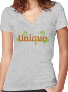 Unique planet safari design Women's Fitted V-Neck T-Shirt