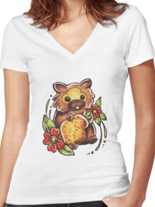 Bidoof Women's Fitted V-Neck T-Shirt