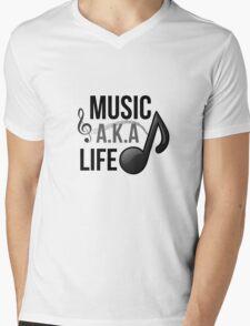 Music, A.K.A life Mens V-Neck T-Shirt