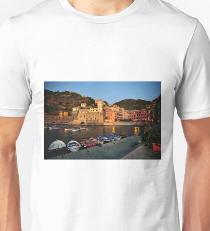 Vernazza Harbor at Sunset Unisex T-Shirt
