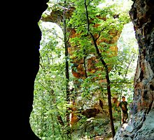 Inside Looking Outside, Pedestal Rock Arkansas Ozark-St. Francis National Forest 6 23 2005 by NatureGreeting Cards ©ccwri