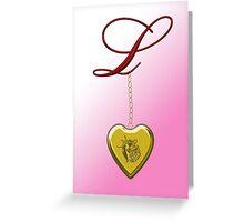 L Golden Heart Locket Greeting Card