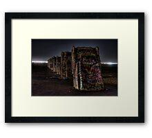Midnight at Cadillac Ranch Framed Print