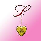 L Golden Heart Locket by Chere Lei