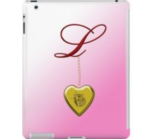 L Golden Heart Locket iPad Case/Skin