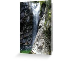 Waterfall in Aurigeno in the Maggia Valley, Ticino, Switzerland Greeting Card