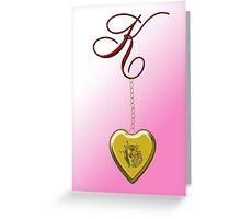 K Golden Heart Locket Greeting Card