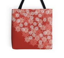 Red background with stylized flowers Tote Bag