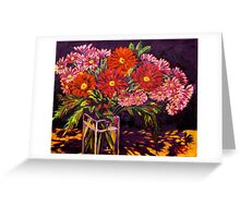 Mixed Daisies in a Vase Greeting Card