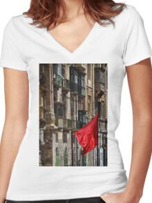 Aħmar Women's Fitted V-Neck T-Shirt