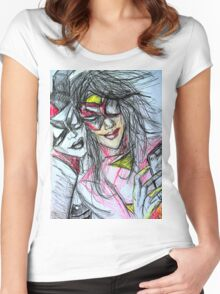 Harley Quinn with Spider Woman Women's Fitted Scoop T-Shirt