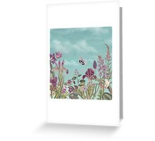 Mauve flowers on turquoise sky background Greeting Card